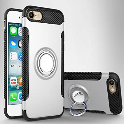 Case for Iphone 8/7 funda protectora anillo de rotación de 360 grados función atril cubierta protectora funda metalizada para iPhone 8/7 (SILVER, ...