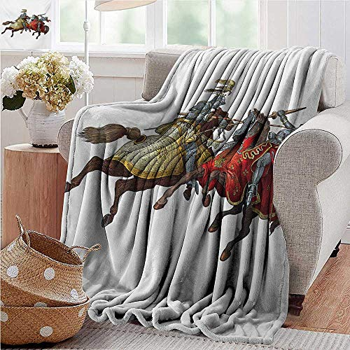 PearlRolan Summer Blanket,Medieval,Middle Age Fighters Knights with Ancient Costume Renaissance Period Illustration,Multicolor,300GSM, Super Soft and Warm, Durable 35