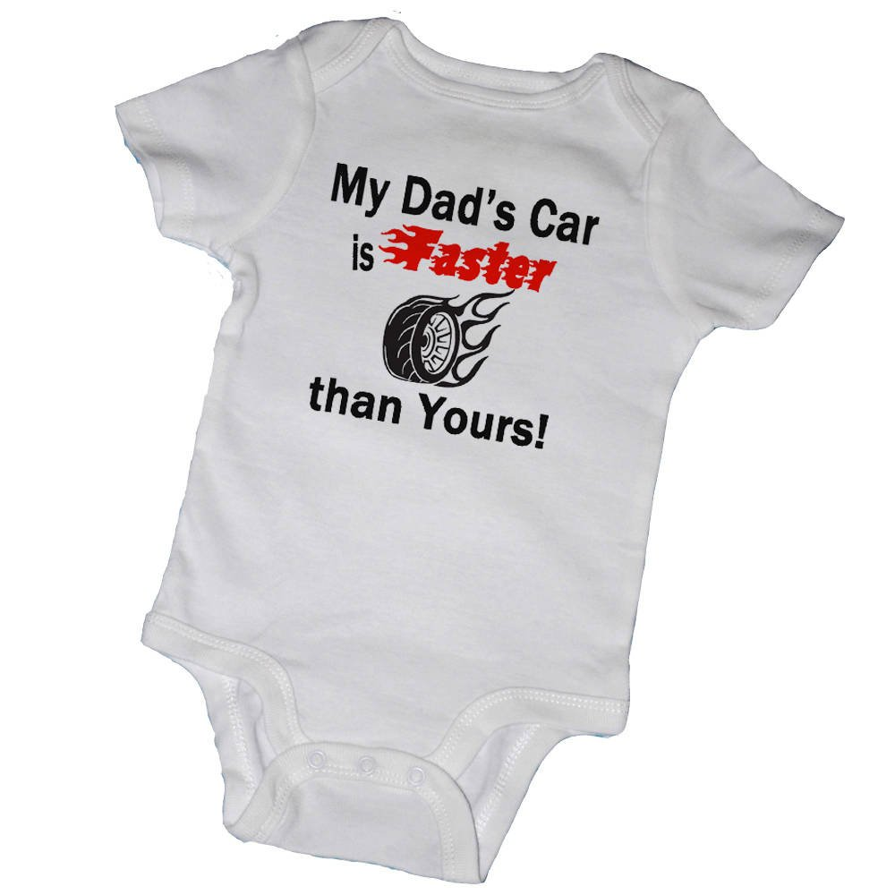 Promini Funny My Dads Car is Faster Than Yours Bodysuit Cute Infant One-Piece Baby Bodysuit Baby Romper