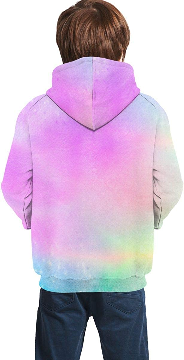 Lichenran Holographic Background Unisex Pullover Teens Hoodie Hooded Sweatshirt Colorful