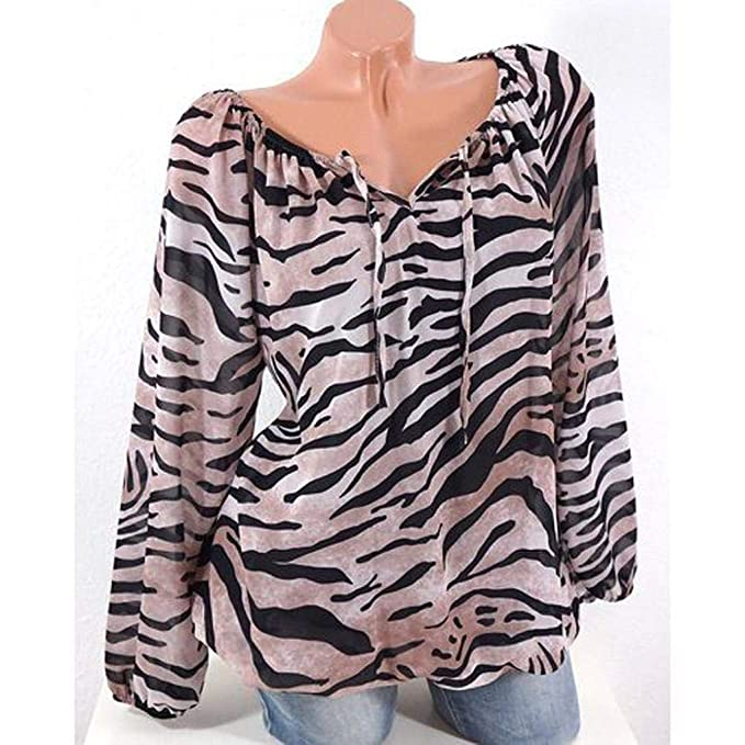 e1fcb913c516 Amazon.com: KFSO Women Tiger Print Plus Size V-Neck Tie Loose Tunic Blouse  Tops T-Shirt (Khaki, XL)