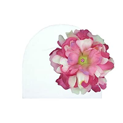 White Cotton Hat with Pink Raspberry Large Peony, Size: 18m-3y