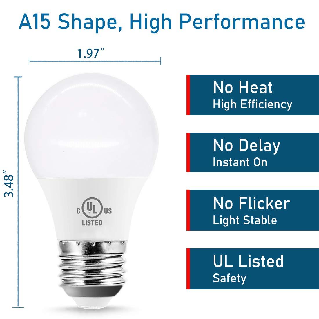Small Size Bulb for Damp Location Waterproof 600 Lumen 7W 120V Daylight 5000K E26 Medium Base 2-Pack YUKIHALU Not-Dim LED Refrigerator Light Bulb 40W-60W Equivalent A15 Appliance Fridge Bulbs