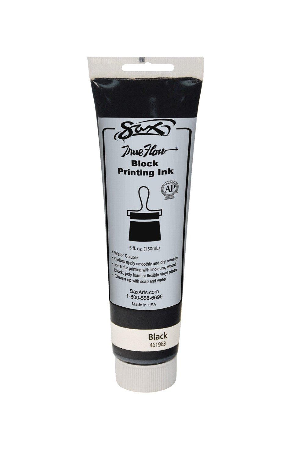 Sax True Flow Water Soluble Block Printing Ink - 5 Ounce Tube - Black
