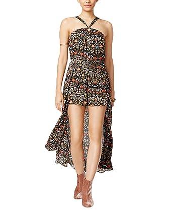 5a302ea7fe1c Amazon.com  Material Girl Juniors  Maxi-Overlay Romper (Caviar Black Combo