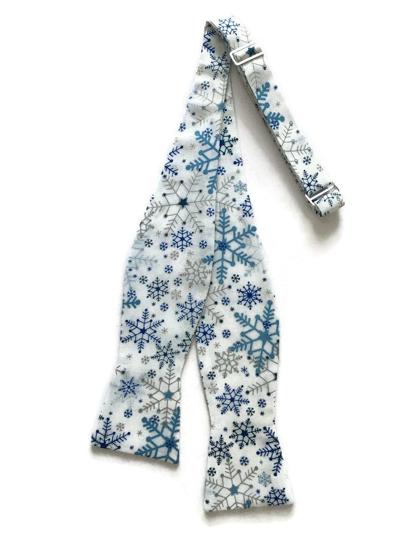 Men's Self-Tie White Snowflake Bow Tie with Blue & Silver Metallic (Boys)