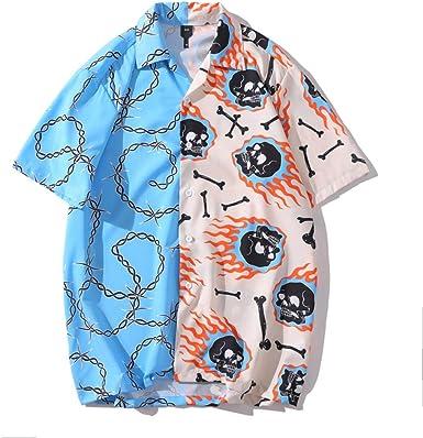 HOSD Camisa Estampada a Rayas de Manga Corta para Hombre y Mujer Rock Summer Beach
