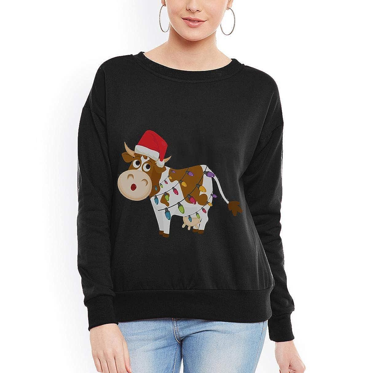 Doryti Cow with Santas Hat Christmas Lights Unisex Sweatshirt tee