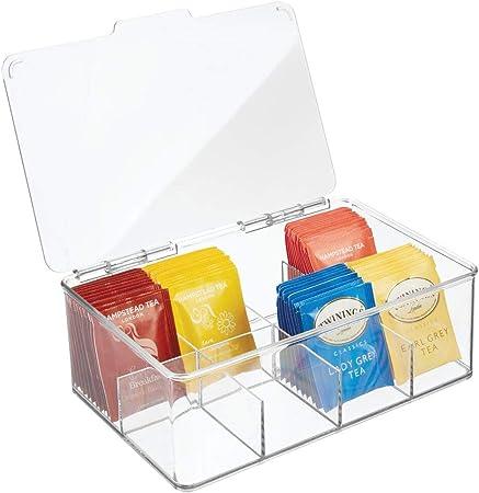 mDesign Caja para té con 8 compartimentos – Caja para bolsas de té con tapa abatible para proteger el contenido – Caja de plástico para guardar té e infusiones – transparente: Amazon.es: Hogar