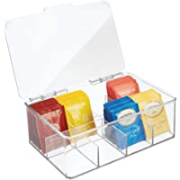 mDesign Stackable Plastic Tea Bag Holder Storage Bin Box with Clear Top Lid for Kitchen Cabinets, Countertops, Pantry…