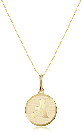 Amazon 14k yellow gold initial a pendant necklace 18 jewelry 14k yellow gold initial a pendant necklace 18quot mozeypictures Images