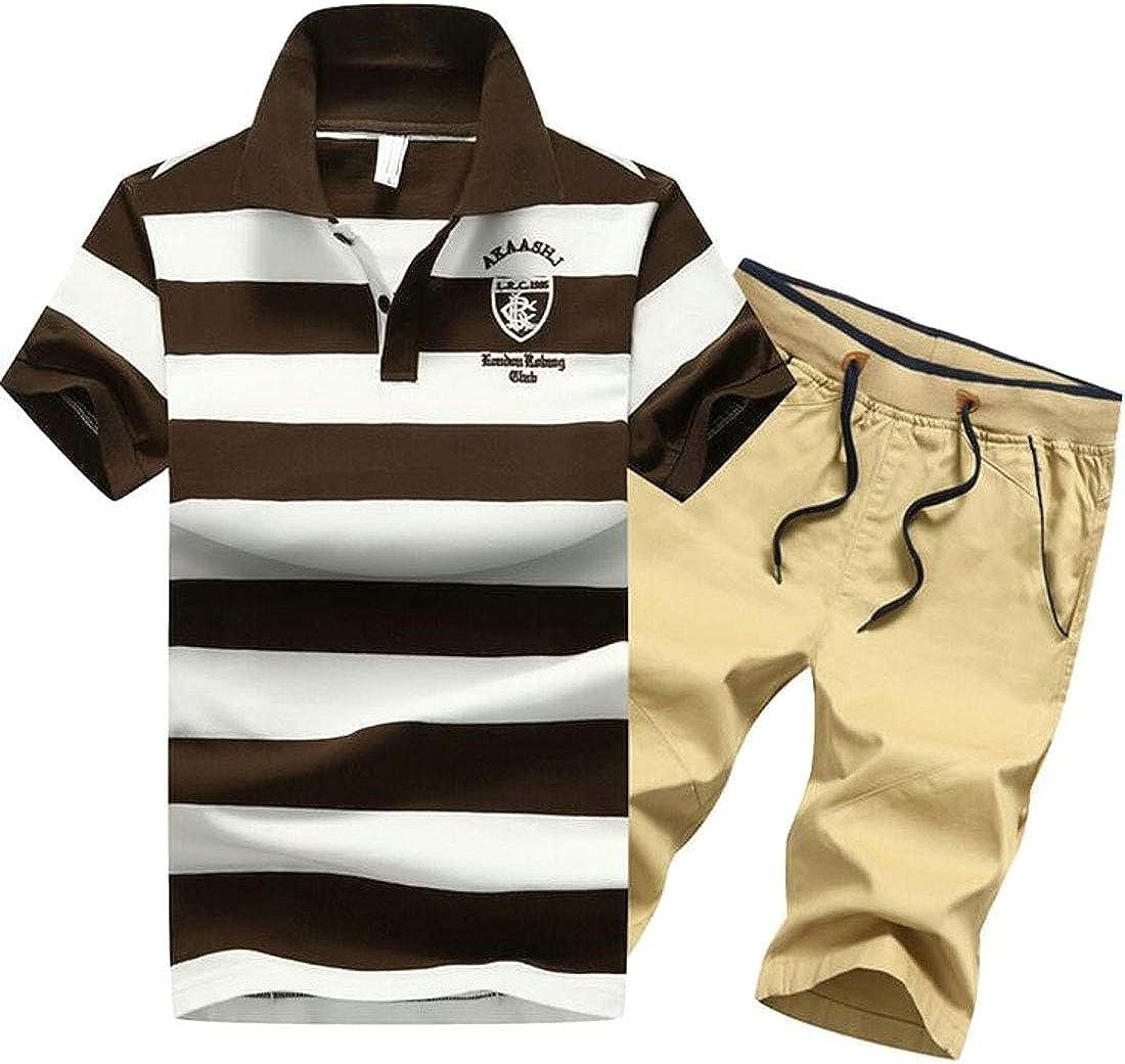 Jotebriyo Men Short Sleeve 2 Pieces Suits Cotton Casual Stripe Print Shirt /& Shorts Flat-Front Outfits