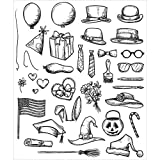Art Gone Wild Crazy Things Cling Stamp Set, Grey by Stampers Anonymous