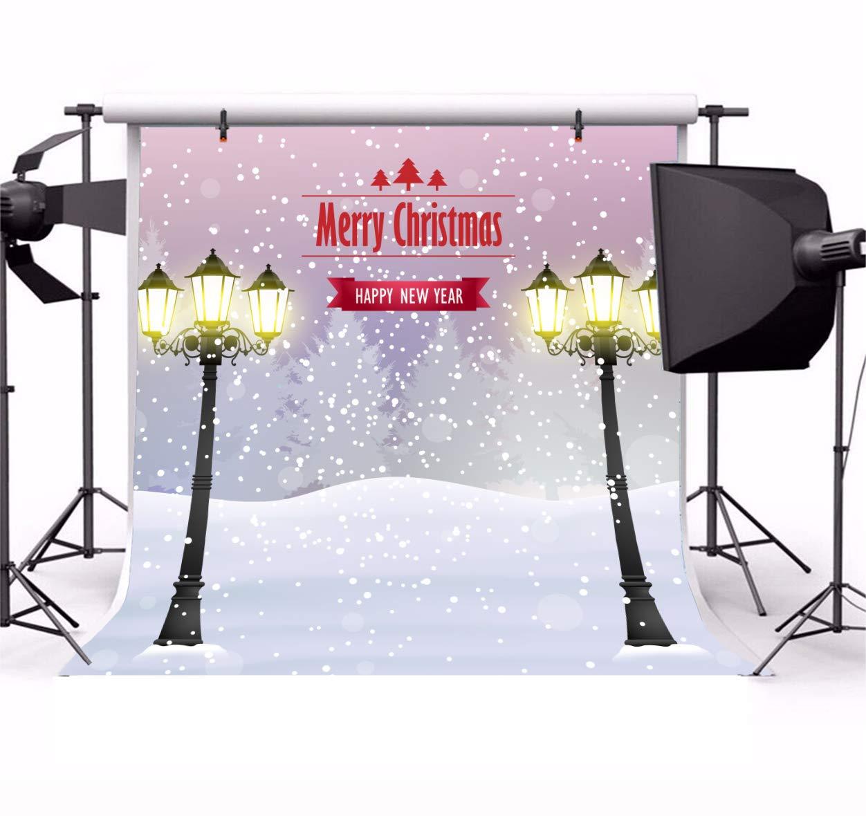 Leyiyi 8x8フィート メリークリスマス 写真撮影 背景 雪 街灯 白世界 雪 カバー 寒い冬 玄関 森 ピン 木 背景 ハッピーニューイヤー クリスマス 写真 ポートレート ビニール スタジオ 小道具   B07H1MVV16