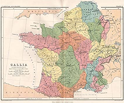 Old Map Of France.Gallia Ancient France Gaul Aquitania Lugdunensis Belgae Johnston