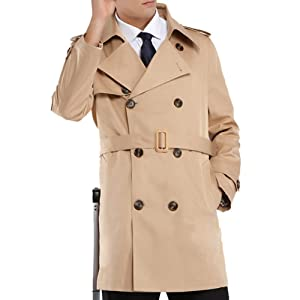 Khaki Mens Trench Coat Belt Winter Thick Double Breasted Jacket Overcoat Outwear