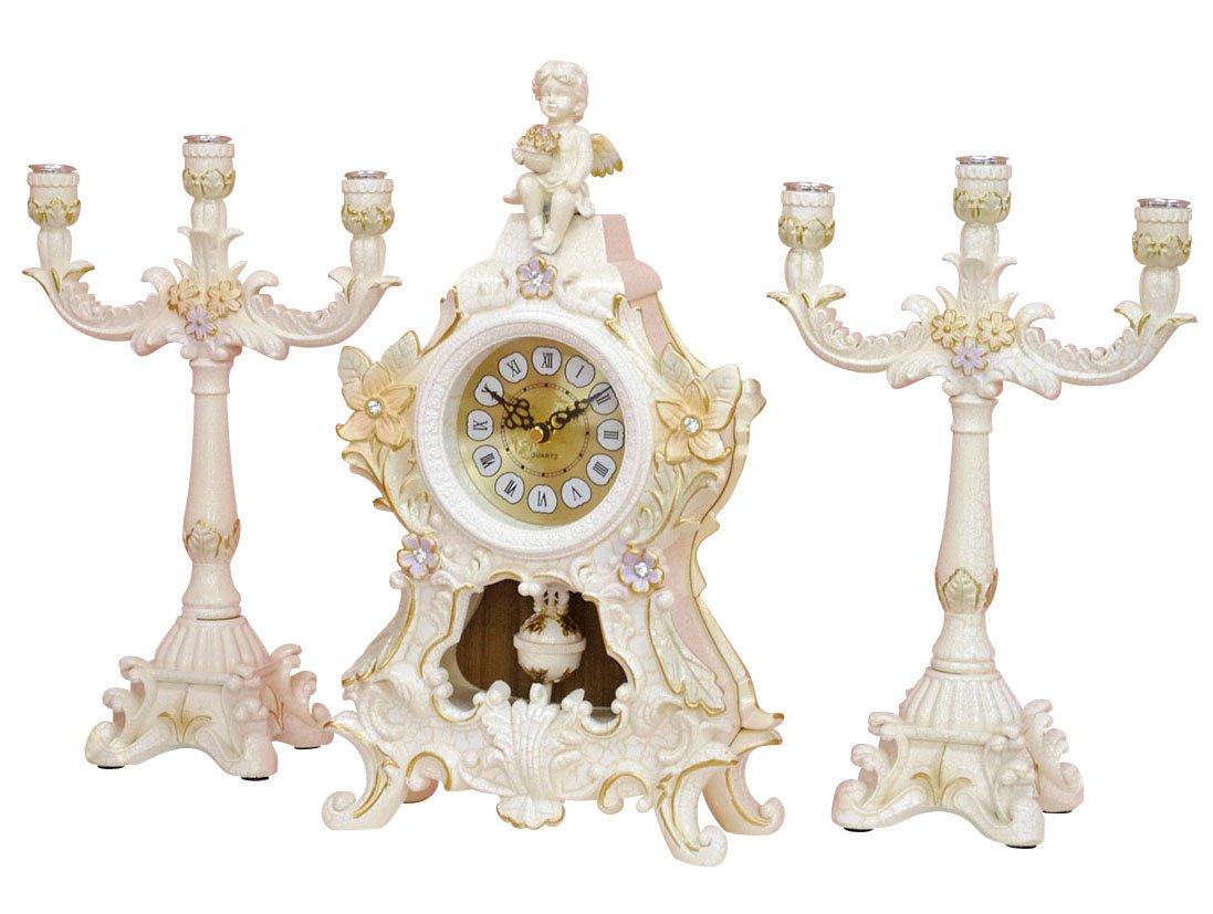 アンチックロココ 時計&蝋燭立て 3点セット [LS-761] B0779VF53F