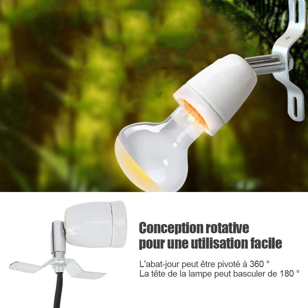 douille en c/éramique orientable pour pince de reptile E27 300W orientable pour ampoule chauffante pour lampe UV Spot Spot en c/éramique chauffante lumi/ère lumi/ère Support de lampe chauffante UE