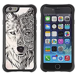 BullDog Case@ Wolf Hound Dog Pencil Pattern Mystical Rugged Hybrid Armor Slim Protection Case Cover Shell For iPhone 6 Plus CASE Cover ,iphone 6 5.5 case,iPhone 6 Plus cover ,Cases for iPhone 6 Plus 5.5