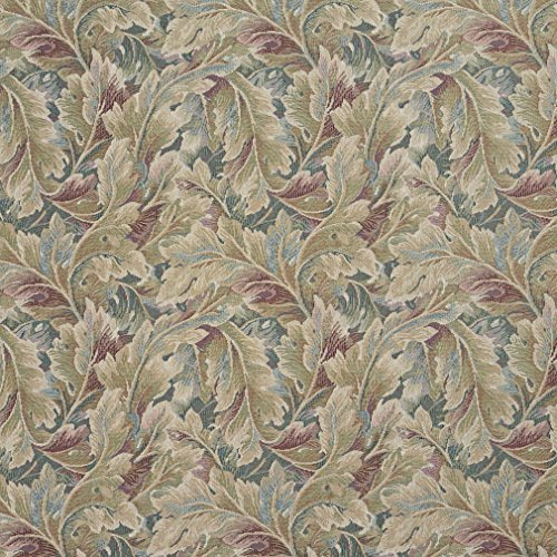 D569 Burgundy and Green Floral Leaf Tapestry Upholstery Fabric by The Yard from Discounted Designer Fabrics