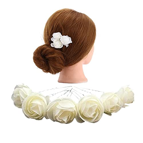 Flower hair clips amazon kimmyku 10 pcs 118 ivory white flower hair pins clips bridal girl women for wedding mightylinksfo