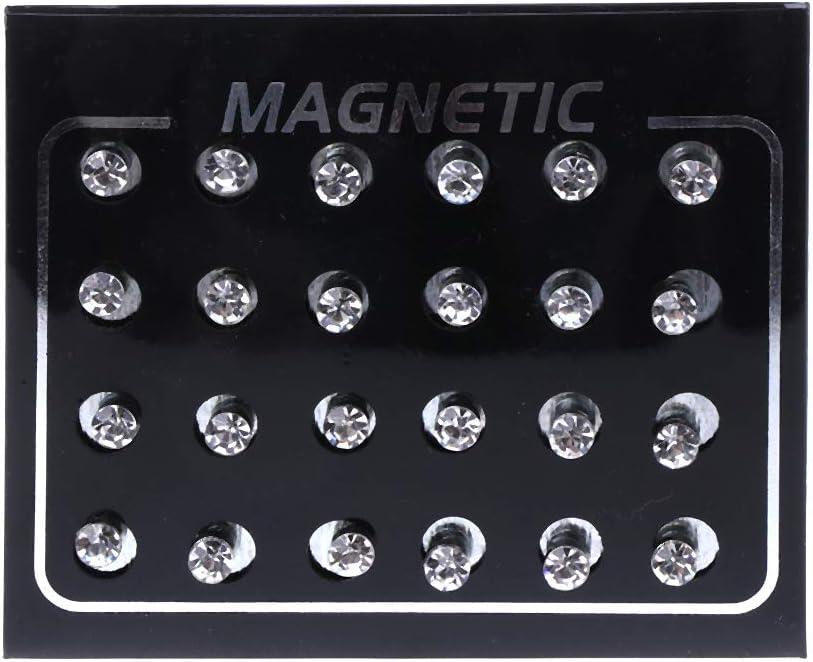 niumanery 12 Pares de Diamantes de imitación de Cristal Clip magnético Pendientes sin Piercings Joyería de Moda Blanco