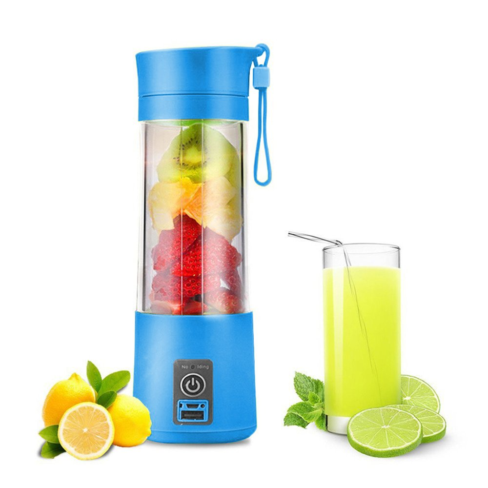 Portable USB Juicer Cup, Water Bottle 380ml Juicer Machine with USB Charger Fruit Mixing Machine Personal Size Rechargeable Juice Blender and Mixer (blue) xhy