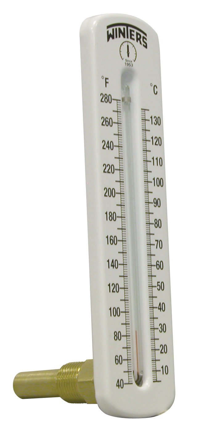 Winters TSW Series Aluminum Dual Scale Hot Water Thermometer, Scale Type, 8'' Scale, Angle, 40-280 F/C Range