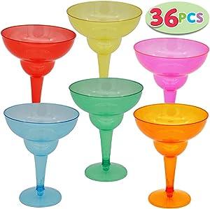 JOYIN 36 Packs Plastic Margarita Glasses Cups 12 oz Disposable Cinco De Mayo Fiesta Party Decoration for Fun Taco Party Supplies, Neon Cocktail Cups, Mexican Theme for Carnivals, Dia De Muertos