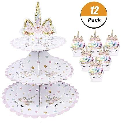 Amazon Com Baring Unicorn Cupcake Stand 12pcs Unicorn Cupcake
