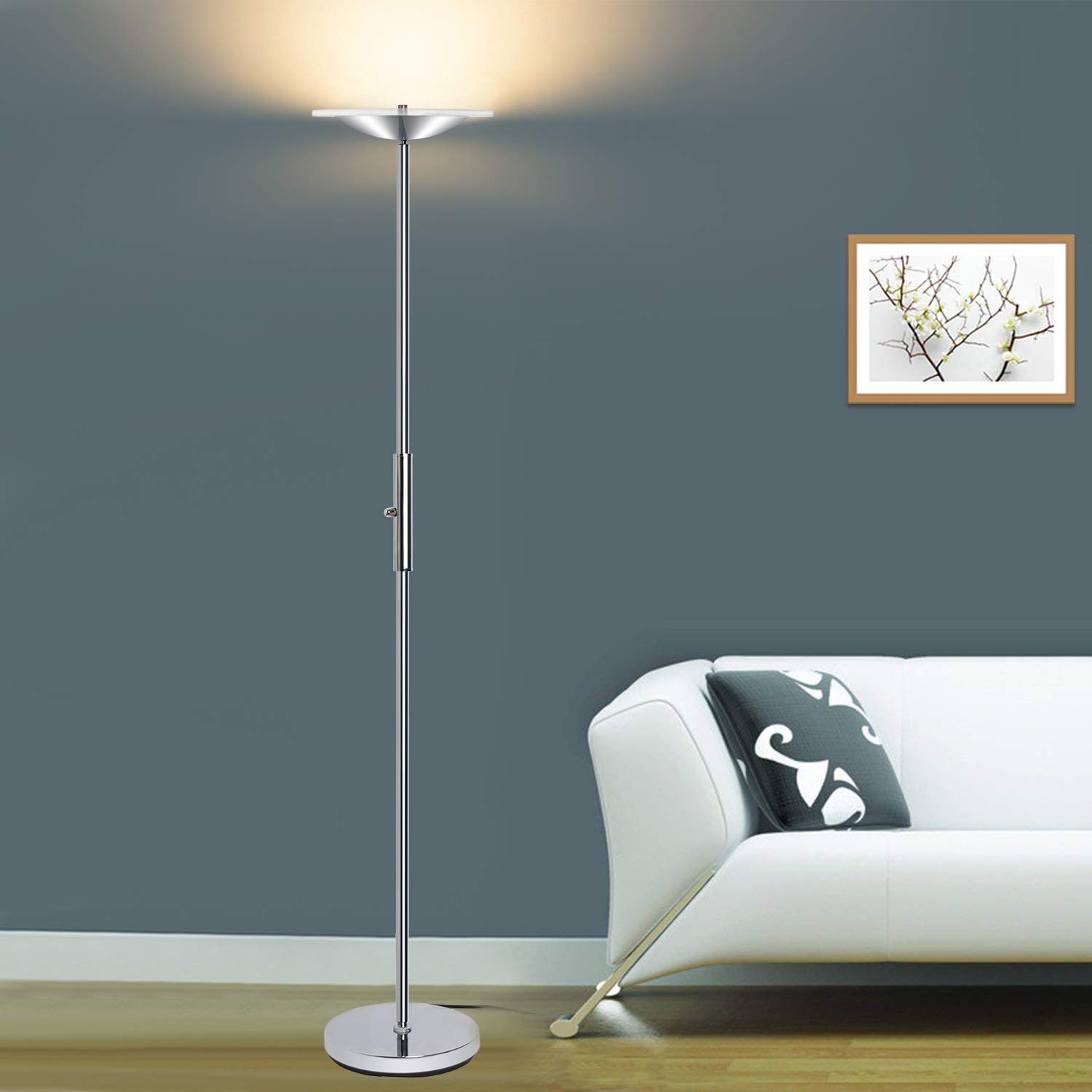 LED Torchiere Floor Lamp, Sunllipe Super Bright 18W Dimmable Uplight Adjustable Floor Lamp, Modern 70.5'' Tall Standing Pole Light, Compatible with Wall Switch for Reading, Office, Living Room, Bedroom by sunllipe (Image #7)