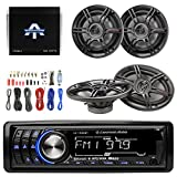 Lightning Audio By Rockford Fosgate LA1500BT MP3 Bluetooth Stereo Receiver Bundle Combo With 2x Crunch 6.5'' Inch & 2x 6x9'' 3-Way Black Coaxial Speaker + Autotek TA10504 Amp + Enrock Amp Install Kit