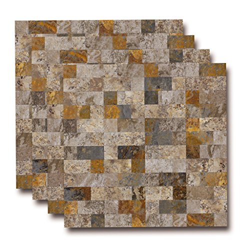 Stone Mosaic Tops - Top mosaic PVC Peel and Stick Slate Backsplash Tile, Stick on Tiles for Kitchen Backsplash (Rectangle, 4 Sheets)