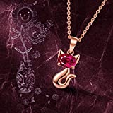 Brilla-Women-Fine-Jewelry-925-Sterling-Silver-Pendant-Necklace-Rose-Gold-Miss-Cat