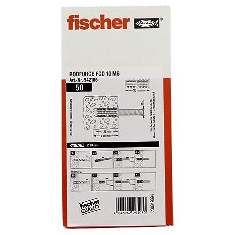 Fischer 542106 Filetage Tiges chevilles rodforce FGD m6x35 pans 50 pièces