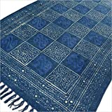 Eyes of India - 3 X 5 ft Blue Indigo Cotton Block Print Accent Area Dhurrie Rug Flat Weave Hand Woven Boho Chic Indian Bohemian