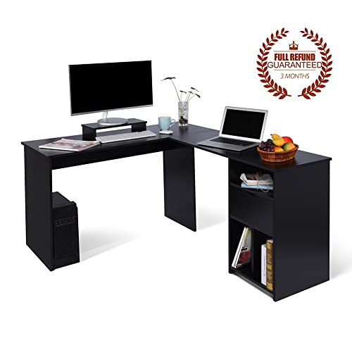 L-Shaped Office Computer Desk, Large Corner PC Table with Monitor Stand for Home and Office Use,Black Wood Grain(2 Carton Packages)