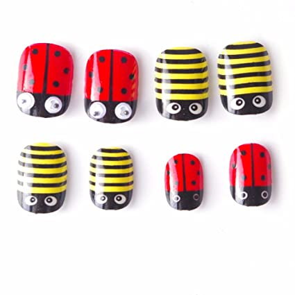 40 pcs Mariquita Kawaii niños falsas uñas 5 tamaños pre-glue prensa de uñas postizas