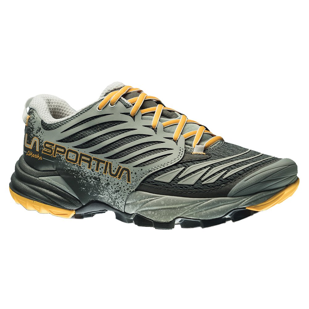 La Sportiva Akasha Women's Trail Running Shoe, Grey/Papaya, 40.5