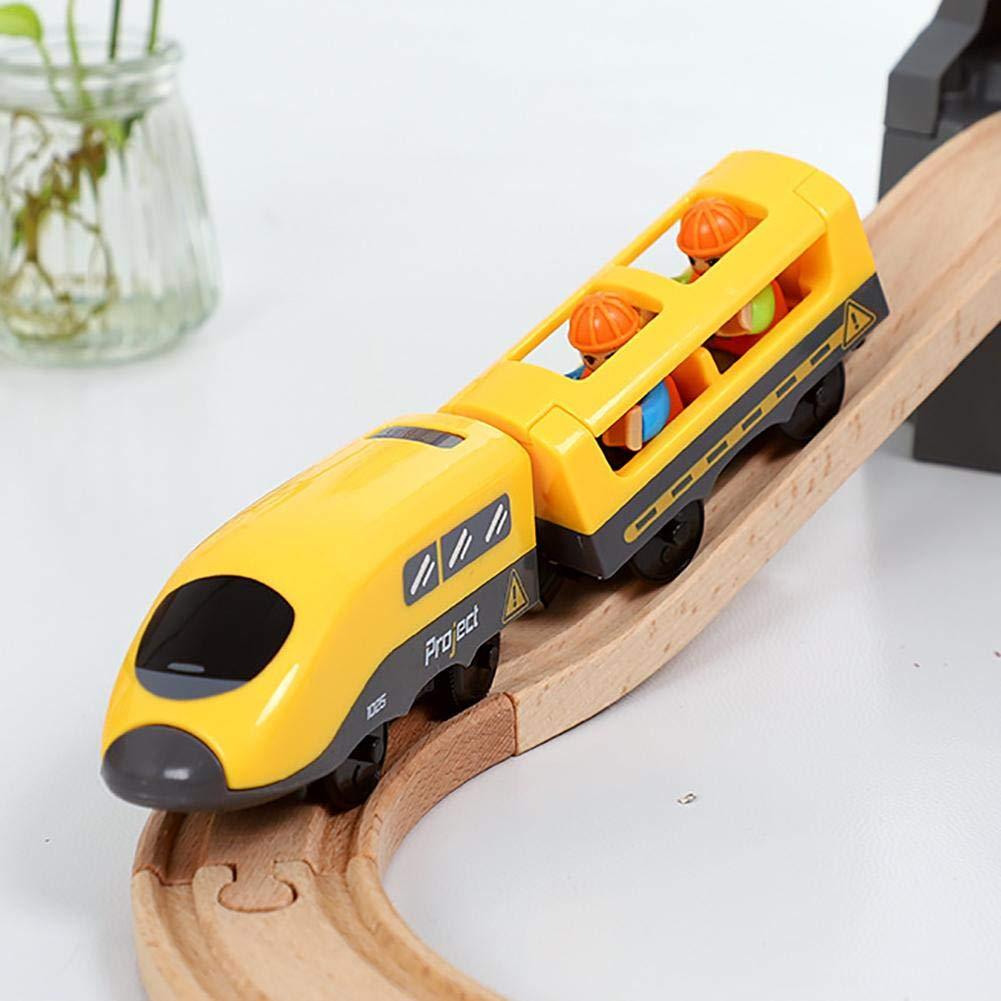 VERLOCO Tren El/éctrico Compatible con Riel De Madera Adecuado Ni/ños con Pilas AAA Tren De Juguete Cl/ásico para Ni/ños no Incluidas Juguetes Divertidos