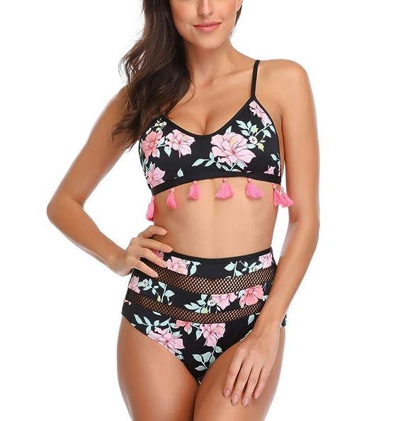 fe7a1773fc Amazon.com: Bcoly Womens High Waist Two Pieces Pom Pom Bikini Set Tassel  Swimsuit Push Up Swimwear Halter Bikini Bathing Suit: Clothing
