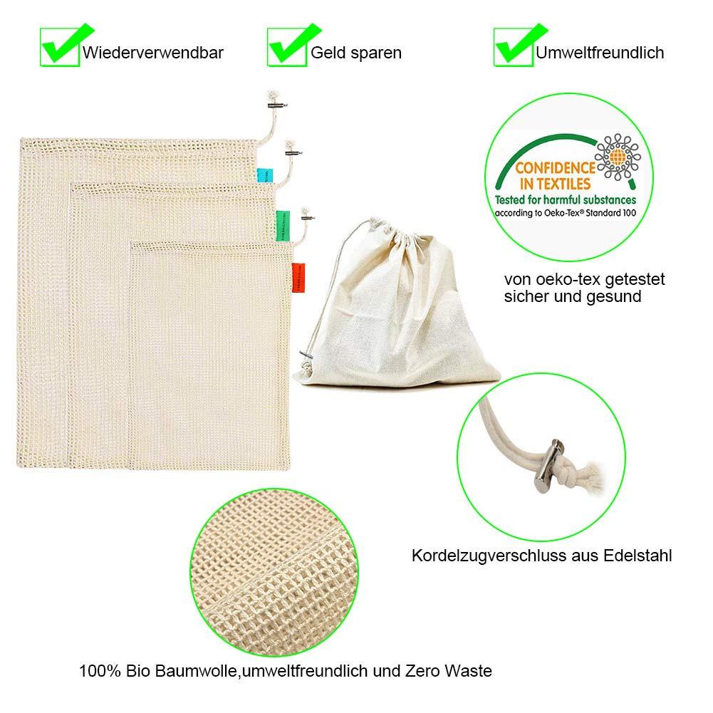 Ciaoed Gemüsebeutel Einkaufsnetze,100% Umweltfreundlich Haltbar Wiederverwendbare Waschbar Einkaufsbeutel Gemüsenetz Baumwollbeutel für 5 stück Zero-Waste Bio Baumwolle Aufbewahrungstasche