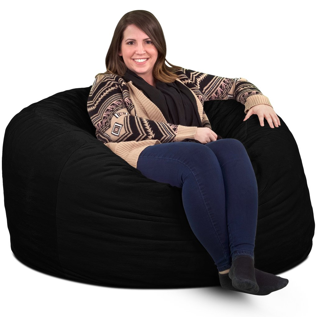 ULTIMATE SACK 4000 Bean Bag Chair Giant Foam-Filled Furniture – Machine Washable Covers, Double Stitched Seams, Durable Inner Liner, and 100 Virgin Foam. Comfy Bean Bag Chair. Black, Suede