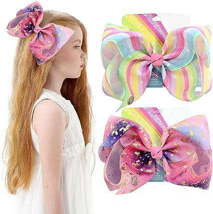 EXTRA LARGE JoJo Siwa 2 Pack Hair Clip Bow Set Printed Girls Jo Jo Clip on NEW