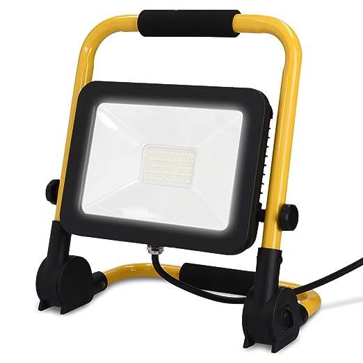 LED Baustrahler 50W 5000lm Baulampe Flutlicht Strahler tragbar Baustellenlampe