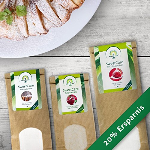SweetCare Kristall-, Puder- und Geliernatursüße im Vorteilspack Zuckerersatz mit Erythritol und Stevia, die natürliche Alternative zu Gelierzucker ohne Kalorien
