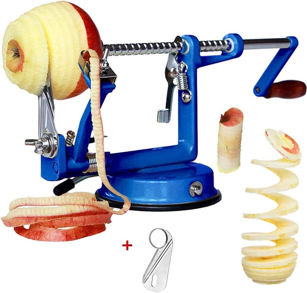 Corer Peeler, Apple Peelers Corer Slicer 3 in 1 Heavy Duty Stainless Steel with Suction Grips Base Peelers Apple Pear Potato Applesauce Cider Apple juice Apple Pie Tools Peelers for Kitchen (Blu)