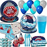 Shark Party Supplies for 16 Guests. Dinner Plates, Cake Plates, Napkins, Cups, Cutlery, Balloons, Tablecloth, Hats, Mini Shark Squirt Favors - Under the Sea Theme Birthday Pack w Decorations + Prizes