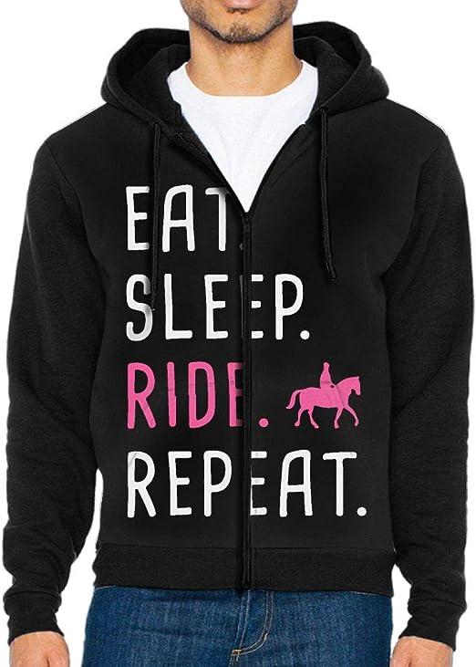 Funny Novelty Hoodie Hoody hooded Top Eat Sleep Ride Horse