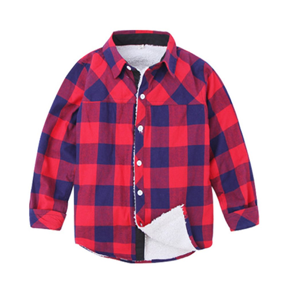 Uwback Boys Casual Winter Thick Plaid Fleece Shirts